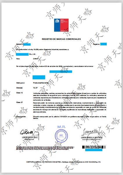 智利商标注册证