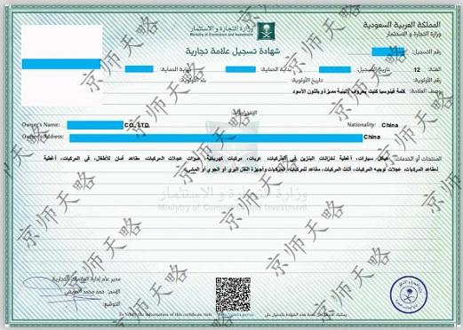 沙特商标注册证